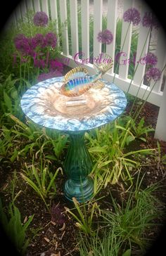 Bird Bath, Glass garden art, yard art, repurposed recycled up cycled glass, unique garden decor, sun catcher, www.TheGlassyGardenGal.com