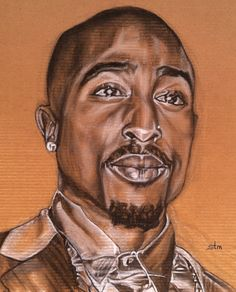 11 x 14 Fine Art Print of Tupac Shakur Charcoal Drawing by brtyche