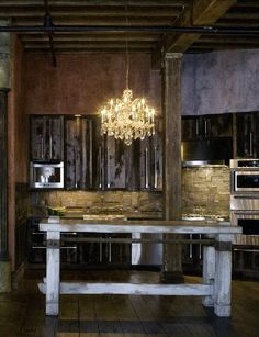 This custom table was purchased by Gerard Butler for his NYC Loft.  Design by Designers Views, Banco Collection. www.designersviews.com    Uses:  Desk, Bar Table, Kitchen Island, Display Table, Etc.