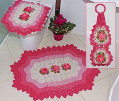 jogo de banheiro de banheiro, jogo de, bathroom set, bathroom crochet, em crochê, crochet ideal, croch banheiro, crochet bathroom