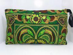 GREEN BIRD Wristlet Clutch HMONG Embroidered