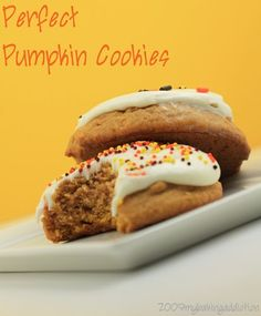 Pumpkin cookies with cream cheese icing.  Can it be fall now?