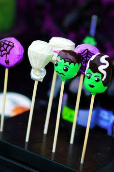 Cake pops at a Holy Monster'mony Halloween Party with SUCH CUTE IDEAS via Kara's Party Ideas | KarasPartyIdeas.com #MonsterBash #MonsterWedding #Party #Ideas #Supplies #frankensteinparty