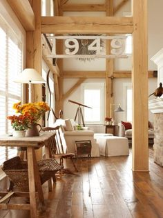 decor, barn style, idea, midwest living, floors, house numbers, homes, design, wood beams