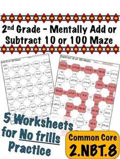 2nd Grade Add or Subtract 10 or 100 - Common Core 2.NBT.8 $