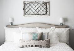 Inspiration for Master Bedroom - Grey Walls - Linen Studded Headboard - White Ruffle Duvet