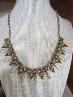 Beadwork necklace with Czech dagger beads by MistyValleyDesigns, $40.00