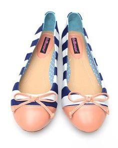 Navy / Pink Ballet Flats $15