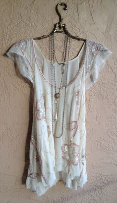 Silk Gatsby beaded and sequin pink and ivory Tunic by BohoAngels, $120.00