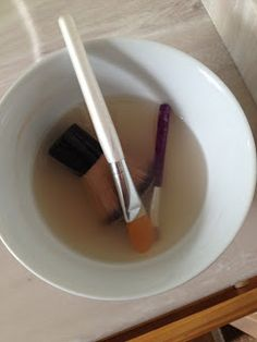 DIY Make-up brush cleaner... all items you have in your pantry.... no harsh chemicals