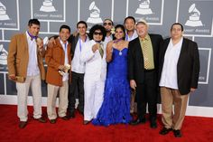 Los Cojolites arrive at the 55th Annual GRAMMY Awards  I love her blue dress