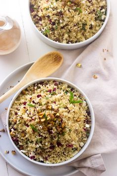 Pistachio Cherry And Feta Quinoa Salad - Crunchy, sweet and tangy this is SO easy and delicious!  www.foodfaithfitness.com  #Recipe #Quinoa ...