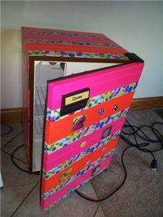 decorate mini fridge, craft, mini fridge ideas, dorm ideas 2014, colleg life, duck tape ideas, dorm rooms, mini fridge decor, tape your room up