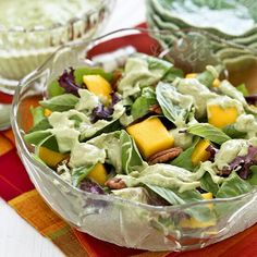 Mango Pecan Salad with Creamy Basil Avocado Dressing - sweet, tangy, and refreshing with a delightful crunch   Roti n Rice