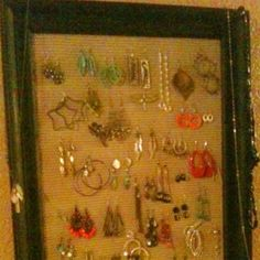 Earring holder :: DIY - hot glue fabric to the back if an old frame