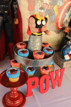 Vintage Superhero themed birthday party with SUPER AWESOME IDEAS via Kara's Party Ideas   KarasPartyIdeas.com #vintageboyparties #supeheroes...
