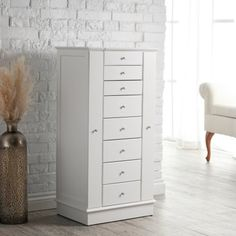 Find it at the Foundary - Exquisite Jewelry Armoire with Quilted Pullout Storage - White