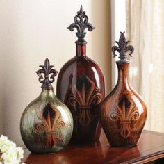 Fleur-de-Lis Glass Bottle - LOVE THESE!!!