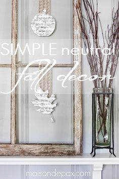 love this! use twine, ribbon, or burlap and some sheet music for fall decor - via maisondepax.com #fall #pumpkin #mantel  #neutral