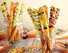 Gourmet Halloween Pretzel Rods from our friends at A Thrifty Mom
