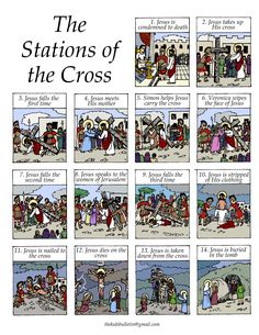 Stations of the Cross * Fourteen sculptures found in Catholic Churches depicting Christ's journey from sentencing to his burial.