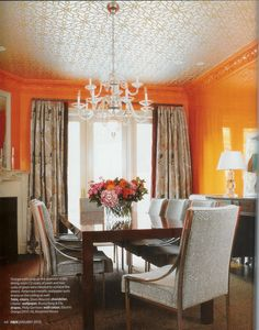 orange lacquered walls