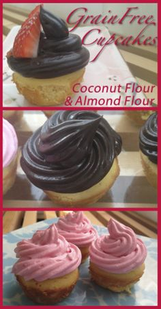 Grain Free Cupcakes! These are made with coconut flour and almond flour. They taste amazing and are very easy and healthy--sweetened only with maple syrup (or stevia if you choose). The frostings are chocolate avocado based and stawberry yogurt based---yum!!