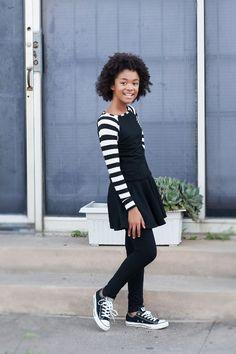 Black and white stripe long sleeve Fall baseball sweater, Skirt-leggings and Black Conveste - Tween Fashion