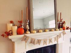 The HONEYBEE: Fall Mantel #fallmantel #thanksgiving #falldecor #whitepumpkins