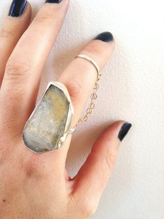 Pyramid Quartz and Sterling Silver Chain Ring