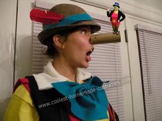 Pinocchio and Jiminy Cricket Couple Costume - okay, so it's photoshopped, but isn't it cute? We came up with being Pinocchio and Jiminy Cricket because we wanted something that was funny for one tall and one short friend.   We bought: 1 yellow