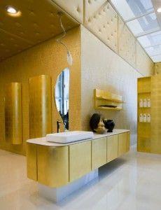 Exclusive gold bathroom interior design