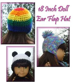 NyanPon's Knits and Crochet: Doll Ear Flap Hat 3 ways**