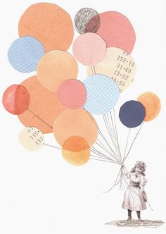Paper balloons - cute idea for cards.