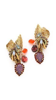 Erickson Beamon Garden Party Leaf Earrings