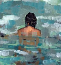 Undertow . large giclee art print poster from acrylic painting of woman in the sea. $45.00, via Etsy.