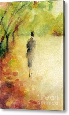 Woman Walking Autumn Landscape Watercolor Painting Acrylic Print By Beverly Brown Prints