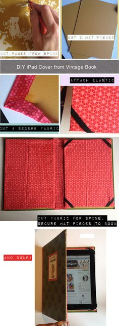 DIY Ipad cover from an old book. Could I modify this for my Kindle?