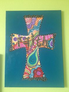 Whimsical Cross on Canvas by melaniehewins on Etsy, $65.00