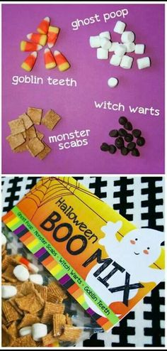 Boo Mix: candy corn - goblin teeth, mini marshmallows ghost poop, raisins - witches warts, cereal - monster scabs