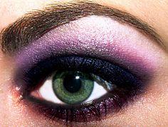 eye makeup, dark eyes, shades of purple, mac makeup, the edge