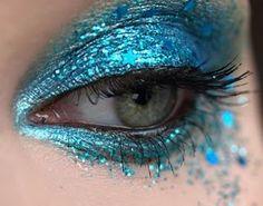 blue glitter eye makeup, beauty makeup, makeup eyes, color, fishi, beauti, shade, pretti, aqua blue hair