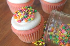 Grenadine Cupcakes Topped With Nerds