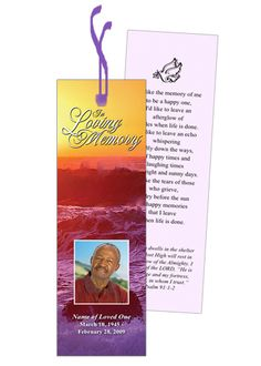 Elegant printable memorial bookmarks that are easy to use and creates great keepsake.