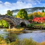 There is something very relaxing about this scene autumn, shops, teas, the bridge, wale, llanrwst, ivy, bridges, place