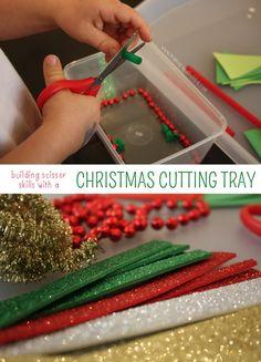 Building Scissor Skills with a Christmas Cutting Tray | Mama.Papa.Bubba.