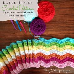 Large #crochet ripple blanket pattern from Daisy Cottage Designs