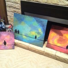 Easy acrylic paintings I did last night! Just go nuts with your colors and brush strokes and end with a simple silhouette :)