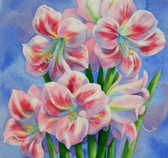 AMARYLLIS watercolor flower painting, painting by artist Barbara Fox Artists, Watercolor Paintings, Artist Barbara, Art Flower, Flower Paintings, Watercolor Flowers, A Tattoo, Amarylli, Barbara Fox