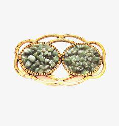 Vintage Gemstone Brooch / Pin, Gold / Jade Chip